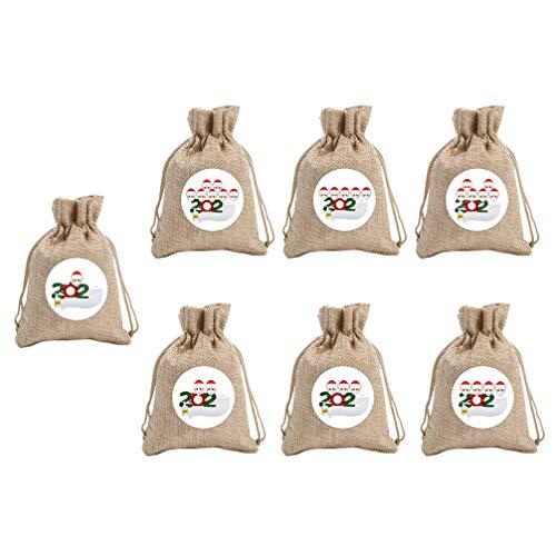Amosfun 7Pcs Weihnachten Stoff Süßigkeiten Tasche Kordelzug Hanf Seil Beutel Quarantäne Überlebende Familie Süßigkeiten Taschen Dessert Keks Keks Geschenk Urlaub Container