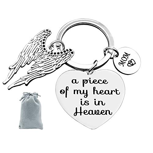 Memorial Jewelry Gift A Piece of My Heart is in Heaven Keychain Mom Memorial Keychain Keyring Gift Sympathy Jewelry
