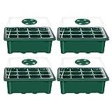 Hemoton 4PCS Caja de plántulas de 12 Agujeros Cubierta Transpirable Ajustable Bandeja de plántulas Bandeja de germinación de Semillas de Plantas para Uso en Tiendas domésticas Verde