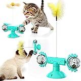 Windmühle Katzenspielzeug, Interaktives Katzenspielzeug,Plattenspieler Katzenspielzeug für Innenkatzen mit Saugnapf, Lustiges Katzenfederspielzeug mit natürlichen Feder und LED-Lichtkugel (Blau)