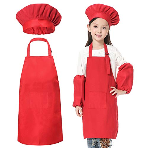JLySHOP - Traje de chef para niños, conjunto de delantal, gorro y manguitos para niños, disfraz de chef ajustable para niños y niñas, ropa para cocinar y hornear, para niños de 4 a 15 años