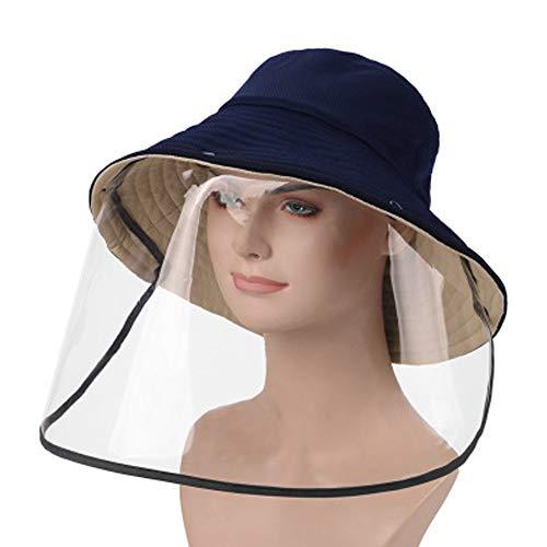 WXMYOZR Protective Bucket Hat Die Komplette Front-Augen-Schild Anti-Saliva Abdeckung Schutz Abnehmbare Face Shield Clear Anti Spucken Für Männer Frauen Outdoor-Aktivitäten,C