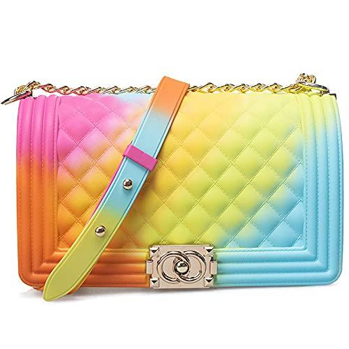 QIANJINGCQ Moda arco iris personalidad gradiente bolso femenino salvaje esmerilado pequeño rombo fragante cadena simple color jalea bolso bandolera bandolera mochila