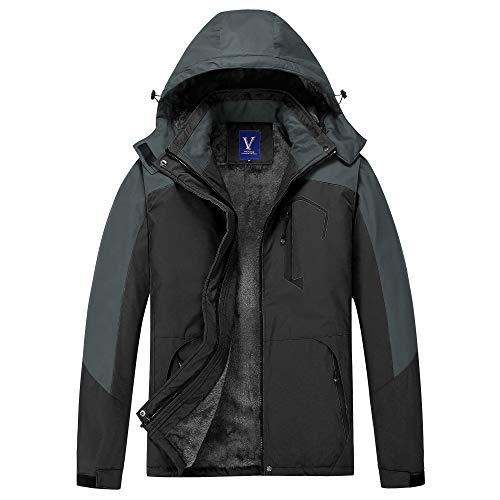 GEMYSE Men's Mountain Waterproof Ski Snow Jacket Winter Windproof Rain Jacket (Black,Small)