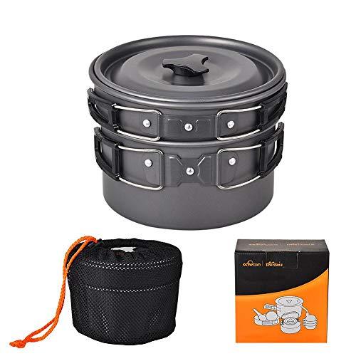 iBàste Set Pot Plein Air Randonnée Pique-Nique Cuisine Ensemble Cuisson Pot et Théière pour Pique-Nique en Plein Air de 2-3 Personnes Ensemble de Camping Ustensiles de Cuisine Kit Portable