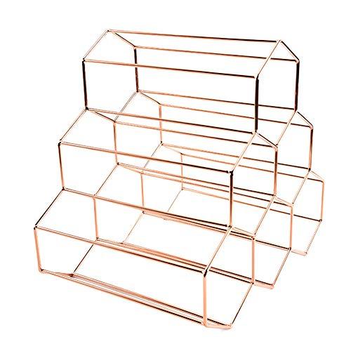 Housewares Weinregal für 6 Flaschen, geometrische Form, Edelstahl, Weinregal für Zuhause und Wohnzimmer Free Size rose gold