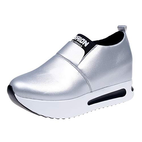 Zapatillas de Plataforma Cuña Deportivo para Mujer Primavera Verano PAOLIAN Zapatos Escolares Running Aire Libre Exterior Señora Casual Calzado Piel Sintético Chica Ddolescente EU 35-40