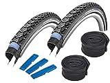 Schwalbe Marathon Plus Tour 28' (47-622) 2 Stück Fahrradreifen, Set für Trekking- Crossbike + 2 Schläuche AV 17