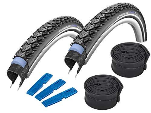 Schwalbe Marathon Plus Tour 26' (50-559) Lot de 2 pneus de vélo VTT + 2 chambres à air SV 13
