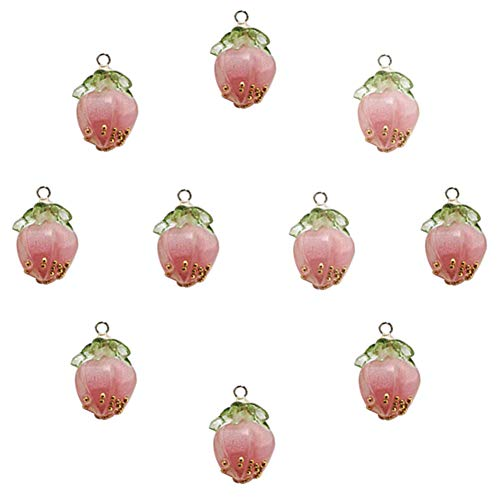 XQingmei 10 Pieces Cute Pink Strawberry Resin Pendant DIY Crafts Bracelet Accessories Decoration Texture Fine Personality Charm Earrings Necklace Handicraft Jewelry