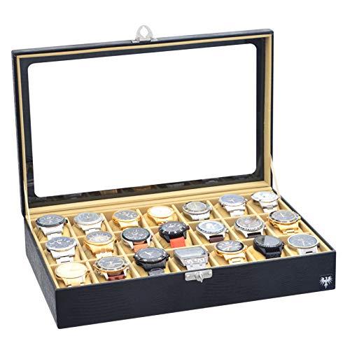 Porta-Relógios Total Luxo Couro Ecológico Preto Bege 21 Divisórias