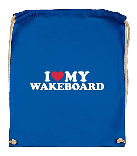 Druckerlebnis24 Turnbeutel - I Love My Wakeboard - Stoffbeutel aus Bio Baumwolle