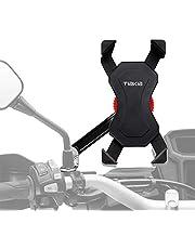 Tiakia バイク スマホ ホルダー 振れ止め 脱落防止 オートバイ スマートフォン GPSナビ 携帯 固定用 マウント スタンド 防水 に適用iphone7 8 X xperia HUAWEI android 多機種対応 角度調整 360度回転 脱着簡単 強力な保護 (ブラック)
