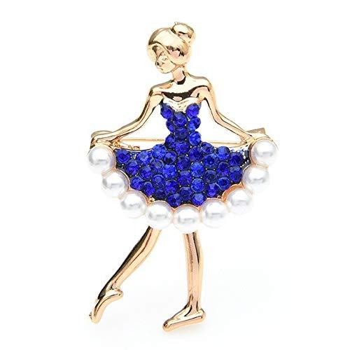Vestido de perlas con diamantes de imitación, broches de bailarina para mujer, broches deportivos para bailarina, regalos, azul