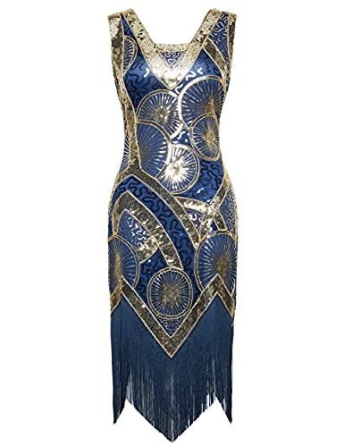Coucoland 1920s Kleid Damen Ärmellos Flapper Fransen Kleid 20er Jahre Paillettenkleider Great Gatsby Cocktail Party Damen Fasching Kostüm Kleid (Blau Gold, S)