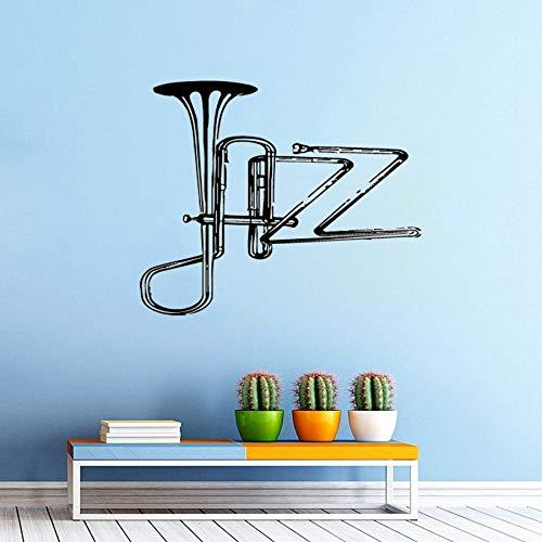 Tianpengyuanshuai Musikinstrument Werkzeug Wandaufkleber Jazz Saxophon Wandtattoo Musik Band Wand Jazz 50X42cm