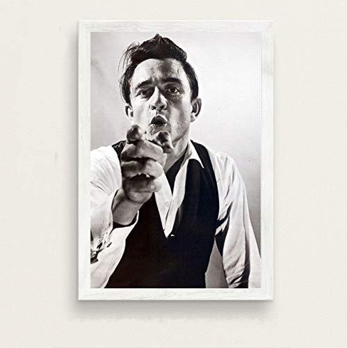 QIANLIYAN Klassische Malerei Kunst Johnny Cash Rockmusik Sänger Star Musiker Poster Drucke Leinwand Wandbilder Für Wohnzimmer Wohnkultur 40X60Cm Ohne Rahmen