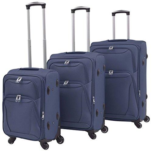 vidaXL Juego de Maletas con Ruedas 3 Piezas Azul Mochila Equipaje Bolso Viaje