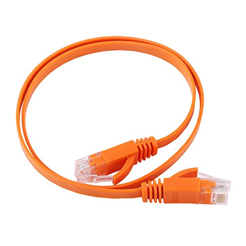 Ftory RJ45 CAT6 LAN Cable-RJ45 CAT6 Red Ethernet Cable LAN Plano UTP Patch Router Cables 1000M Naranja(0.5M)