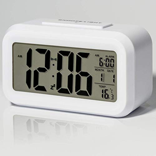 Digital Alarm Clock for Indoor Bedroom with Large Display, Battery Operated Alarm Clock with Smart Night Light, Snooze, Temperature, Date, 12/24Hr LCD Desk Clock for Adults/Kids (White/Black)