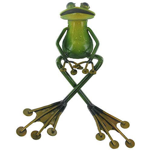 Croisés jambe Vert grenouille assis ornment Étagère en métal – Sculpture en métal avec peinture émail brillant – Fun pour Votre Maison