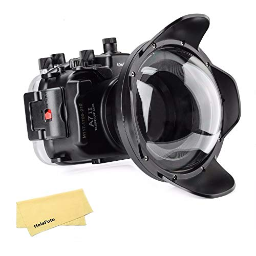 Meikon Underwater Camera Housing Case w/Dome Port Kit, 40M/130FT Waterproof Housing for Sony A7 II A7R II A7S II 28-70mm Lens