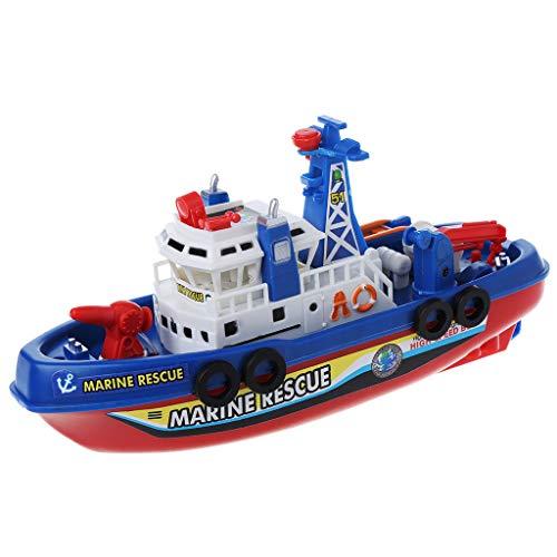 Xurgm Música, iluminación, spray de agua, barco eléctrico, juguete de rescate para niños, navaja de guerra, juguete de regalo de cumpleaños