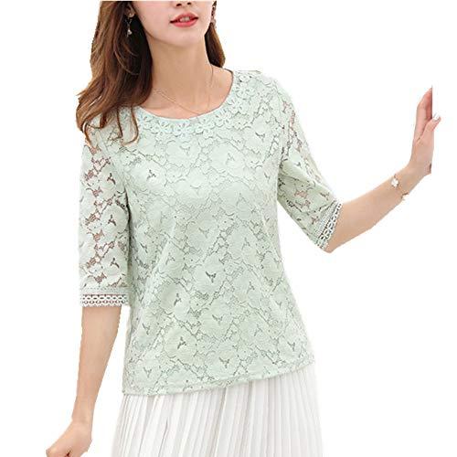 NOBRAND - Camiseta de manga corta para mujer, cuello redondo, con encaje Pasta de judías verdes XL