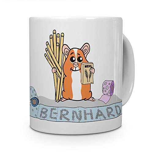 printplanet Tasse mit Namen Bernhard - Motiv Hamstern - Namenstasse, Kaffeebecher, Mug, Becher, Kaffeetasse - Farbe Weiß
