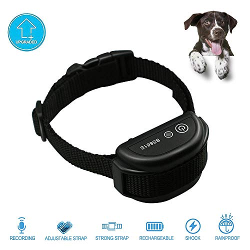 XFOX Dog Bark Collar for Small Dogs 8 Seconds Recording Voice and Electric Shock Dog Rechargeable and Rainproof Anti Barking Collar for Small Medium Large Dog