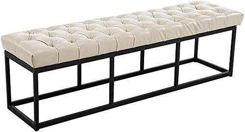 Cuero artificial Pies delgados Banco de cama Banco de metal Banco de sala de estar,White-120CM