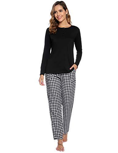 Aibrou Damen Lang Kontrastfarbe Pyjama Set, Zweiteiliger Rundhals Schlafanzug Langarm Shirt und Karierte Pyjamahose Schwarz M