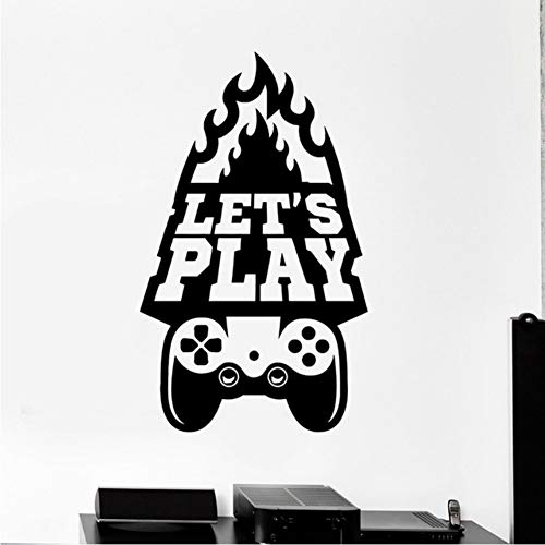 Vinyl Wall Decal Gioco d'arte Let's Play Quote Video Game Stickers 34x57cm