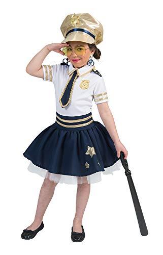 Polizistin Star Kostüm für Mädchen - Weiß Blau Gold - Gr. 140