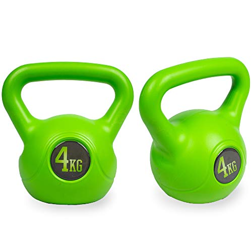 Phoenix Fitness 4KG Green Vinyl Pair Kettlebell - Heavy Weight Kettle Bell for Strength and Cardio Training - Kettlebells for Home Gym Fitness Workout Equipment for Bodybuilding and Weight Lifting