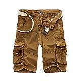 DSDFSVEW Camo Militar Pantalones Cortos Bermudas Verano Camuflaje Cargo Pantalones Cortos Hombres Algodón Sueltos Tácticos Pantalones Cortos Sin Cinturón, Amarillo Oscuro, 36