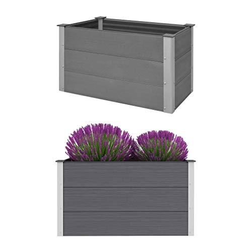 vidaXL Hochbeet WPC 100x50x54cm Grau Pflanzkübel Pflanzkasten Blumenkasten