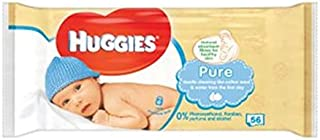 Huggies Baby Wipes Pure Singles 56S - Pack of 2