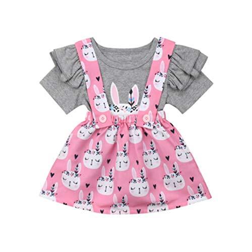 Geagodelia Neugeborenes Baby Mädchen T-Shirt Rüschen Kurzarm + Kurz Trägerkleid Kinder Baby Ostern Outfit Bekleidung Set (Grauer Hase, 2-3 Jahre)
