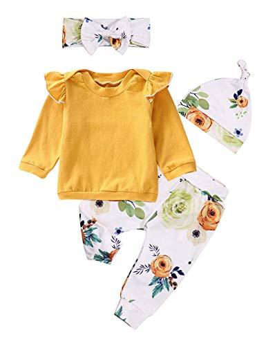 Infant Baby Girl Kleidung Langarm Strampler Jumpsuit Ruffle Bodysuit Blumenhose Outfits mit Stirnband 3Pcs Sets