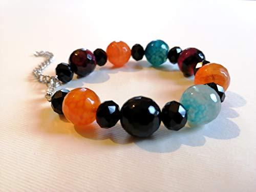 PULSERA Color - Negro, Naranja, Azul claro, Burdeos - Piedras naturales - Ágata - Idea de regalo hecha a mano