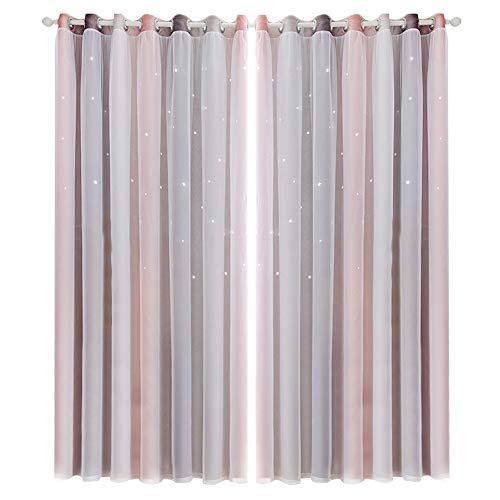 BOxinkk Vorhang mit Garn,Hohlsternvorhang mit Farbverlauf,Schlafzimmer Vorhänge,Wohnzimmer Vorhänge,Verdunkelungsvorhänge 2500 * 1000mm/8.21 * 3.29ft (Piece) (grau)