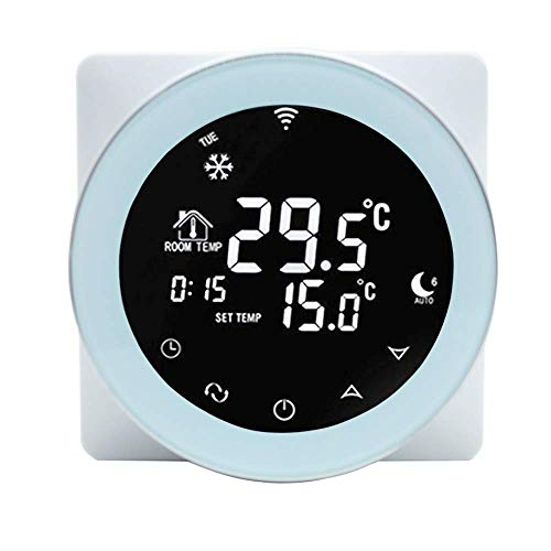 JKUNYU Automatic Refrigeration Onepeak Alexa WiFi Thermostat 3A Water/Gas Boiler Heating Thermostat Programmable Room Thermostat LCD Touch Screen Smart Winter Voice Phone APP Control Hotel/Home Room