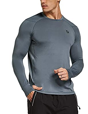 BALEAF Men's Athletic Long Sleeve Outdoor Shirts Thumb Holes Breathable SPF Hiking Tshirts Drifit Workout Tops Grey XL