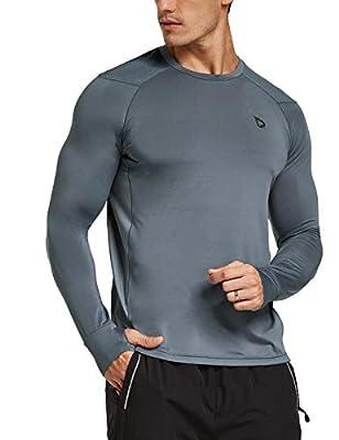 BALEAF Men's Athletic Long Sleeve Outdoor Shirts Thumb Holes Breathable SPF Hiking Tshirts Drifit Workout Tops Grey XL