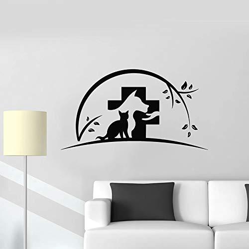 HGFDHG Gato Perro Pared calcomanía Animal Veterinario Tienda de Mascotas clínica Veterinaria decoración de Interiores Vinilo Ventana Pegatina Arte Mural