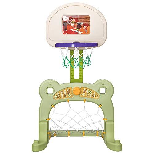 HOMCOM 2-in-1 Basketballkorb Set Basketballständer Sportaktivitätscenter für Kinder Grün L61 x B53 x H99 cm