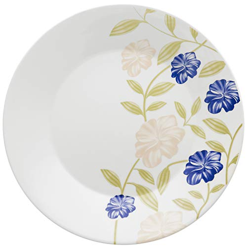 Conjunto com 6 Pratos Raso Biona Azul Perfeito Branco/Azul