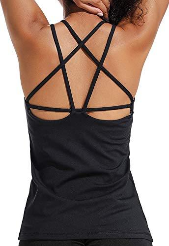 Tops Yoga Mujer Sin Mangas con Relleno Acolchado Deportiva Sujetador Camiseta de Tirantes GT1580#1 Negro S