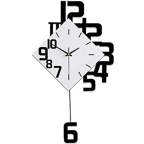 SWNN Moderno Rojo Negro Minimalista Moderno/contemporáneo Madera Novedad Interior/Exterior, Reloj de Pared con Pilas AA